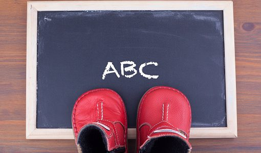ABC message and kid shoes on on chalkboard